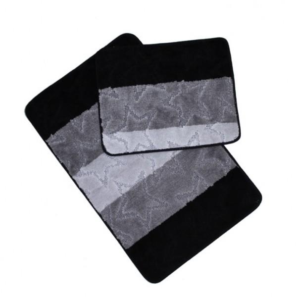 Banyo Halı Seti 2-li Gri Siyah Set Paspas