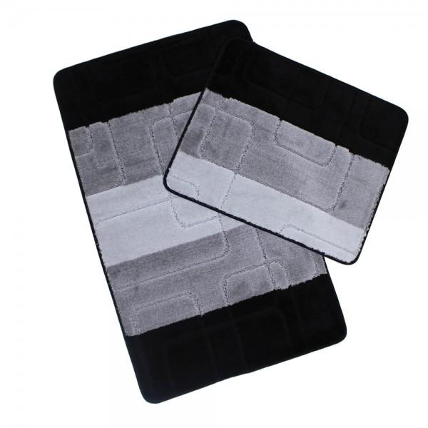 Banyo Halı Seti 2-li Büyük Gri Siyah Set Paspas