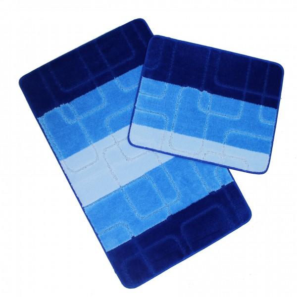 Banyo Halı Seti 2-li Büyük Mavi Set Paspas