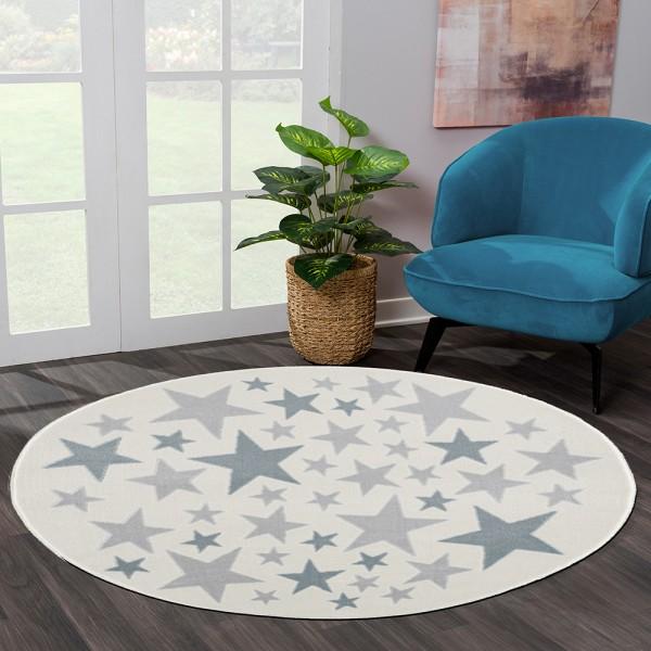 Yuvarlak Halı Yıldız Desenli Mavi Gri Krem