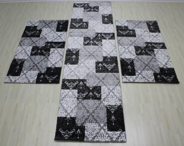 Yatak Odası 3´lü Yolluk-Seti Eleysa Serisi Gri Siyah Beyaz